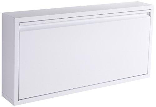 Wink Design Terry - Scarpiera da parete, Metallo, Bianco Opaco, 75 x 12.5 x 37.5 cm