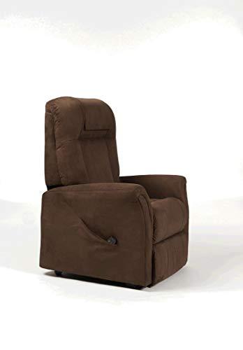 SoNa24 Aufstehsessel Ontario 2, elektrischer Fernsehsessel, 2 Motoren, Relaxsessel bis 150 kg (Stoff braun)