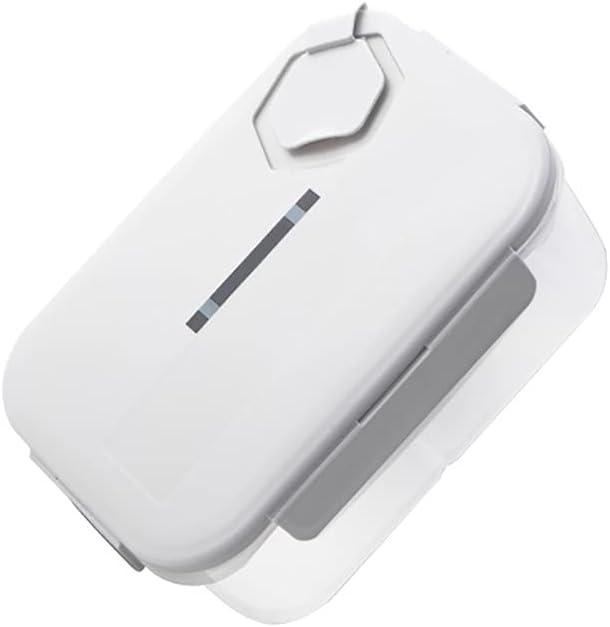 YJKJ Loncheras, Caja De Bento, Sellado Almacenamiento En Frio Caja De Almuerzo,Blanco,1400ml