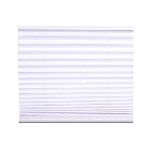 Jet-Line Plisse-Rollo Wit kantoor woonkamer badkamer Easyfix montage zonder boren 45-100 cm breed ondoorzichtig plissé jaloezie Klemmfix | Zonwerend rolgordijn vouwgordijn klemdragers venster 50 x 130 cm wit