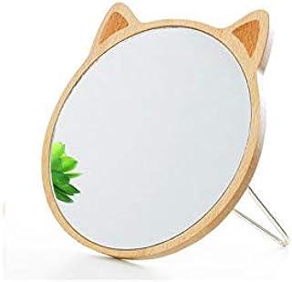 化粧鏡、かわいい丸い猫の耳木製化粧鏡化粧ギフト