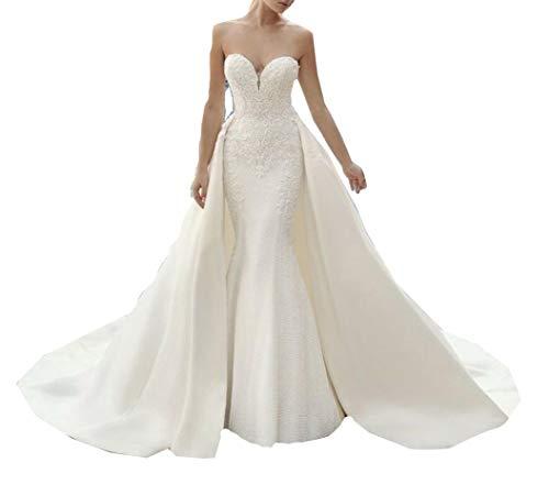 CGown Sweetheart Spitzenapplikationen Meerjungfrau Hochzeitskleider für Braut mit Zug Abnehmbare Satin Brautkleider Übergröße Gr. 54, elfenbeinfarben