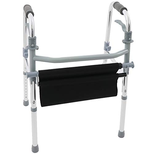 楽々健 折り畳み式歩行器 椅子付き アルミ製 8段階高さ調節可能