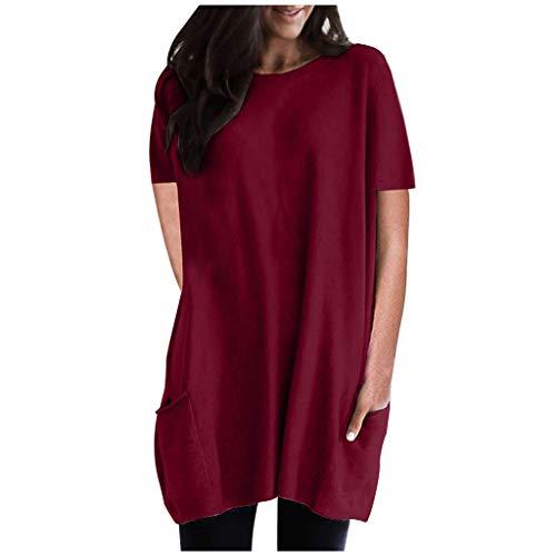 Auifor vrouwen casual feesten korte mouw-oanzet zak losse kanten hemden blouse rond