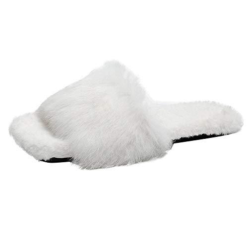 N/A Chanclas con abrebotellas, Pantuflas de Felpa de Talla Grande, Zapatos de otoño e Invierno para Damas, Pantuflas Planas de algodón