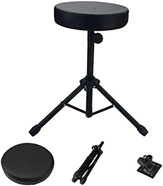 Drum Throne,Professional Drum Stool Rotatable Drumming Chair Padded Seat Skidproof Drum Stand Set Accessories for Drummers Bl