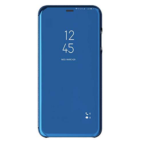 coque Clear View staande behuizing met spiegels Flip Case voor Huawei Y9 2019 (hemelsblauw)