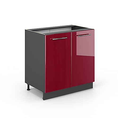 Vicco Spülenunterschrank 80 cm Küchenschrank Hängeschrank Küchenzeile Fame-Line (Bordeaux Hochglanz)