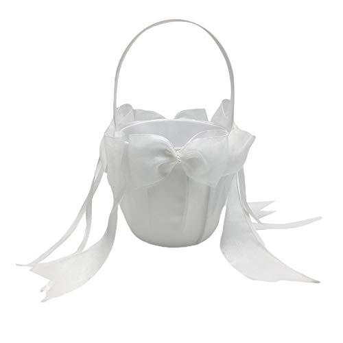 Harilla Canasta Decorativa con Lazo de Cinta para Niña de Flores de Boda Blanca