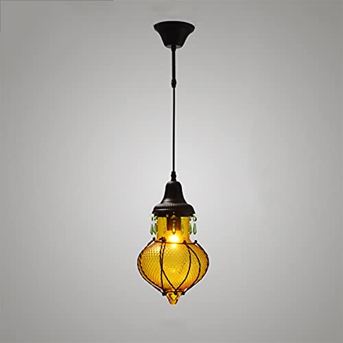 Accesorio de iluminación Mini colgante de vidrio industrial Iluminación colgante con sombra de vidrio colorido Sombra de cristal ajustable EDISON E27 Lámpara de cocina para la isla de cocina Casa de c