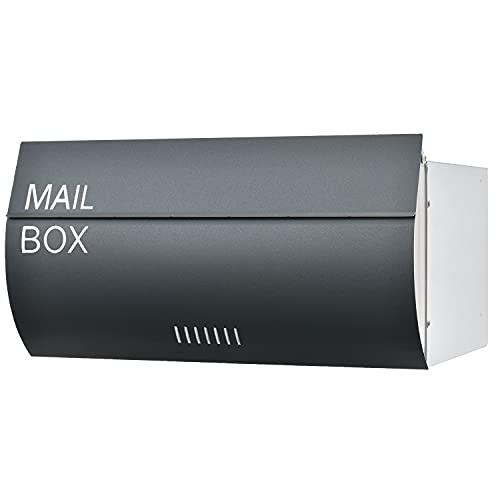 LEON (レオン) MB-0510 郵便ポスト 埋め込み型 後ろ出し ステンレス製 メール便対応 防水 おしゃれ 大型 北欧 ポスト 郵便受け ブラック(MAIL BOX 表記あり)