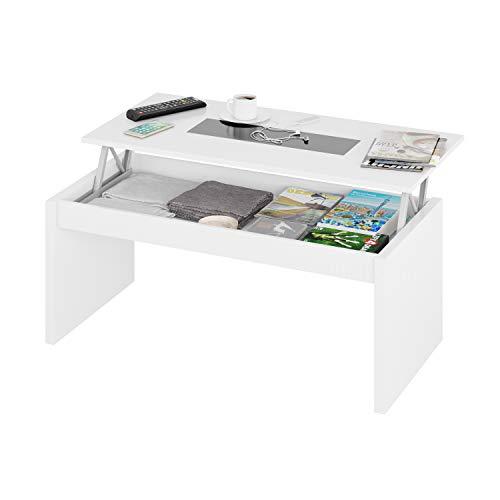 Habitdesign 0T1638BO - Mesa de Centro elevable Zenit Cristal, mesita Mueble Salon Comedor, Acabado...