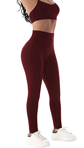 Beelu Damen Yoga Seamless Leggings Blickdicht Frauen Hohe Taille Slim Nahtlose Fit Fitnesshose(Burgundy EU 38-Etikett M)