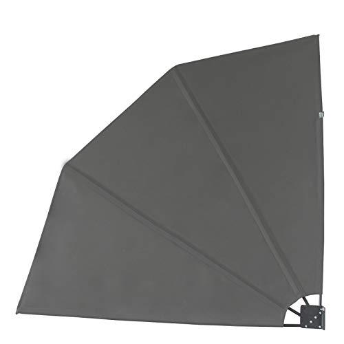 SVITA Balkonfächer Seitenmarkise Trennwand Sonnenschutz Sichtschutz 140x140cm Dunkelgrau/Anthrazit