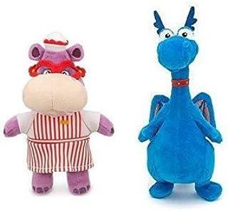 "Disney Junior Jr Doc McStuffins 8 1/2"" Stuffy Plush Dragon and 8'' Hallie Hippo Bean Bag Plush Doll"