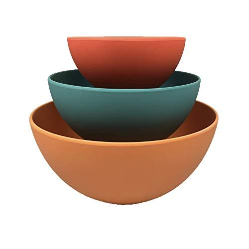 School of Wok - Bamboo Fibre Mixing Bowls - Nesting, Colourful, Set of 3