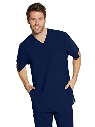 BARCO Grey's Anatomy Edge GET042 Men's Hydro Four Pocket Lapover V-Neck Back Yoke Scrub Top Indigo (Navy) XL