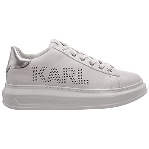 KARL LAGERFELD Kapri Punkt Logo Sneaker Donna White Silver KL62520 40