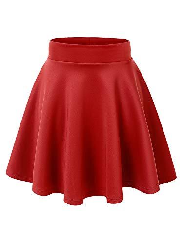 MBJ WB669 Womens Basic Versatile Strechy Flare Skater Skirt S RED
