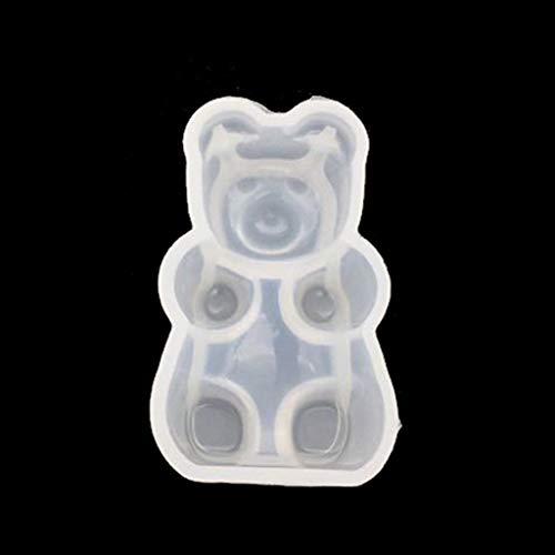 Baiyao Molde de silicona con diseño de oso de gomita para fondant, chocolate, resina epoxi para hacer joyas, manualidades