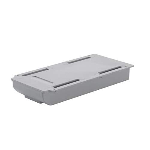 GeKLok Bandeja de almacenamiento autoadhesiva para debajo de la mesa, para maquillaje, oficina, escuela, lápiz (gris, tamaño: S)