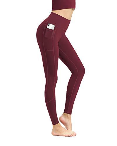 EUSIX Pantalones de Yoga de Cintura Alta con Bolsillos para el Control de la Barriga de Las Mujeres, Entrenamiento de Estiramiento en 4 direcciones, Mallas de Yoga no Transparentes Vino Tinto L