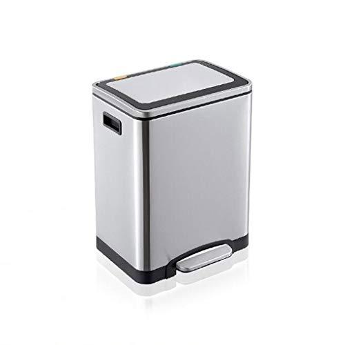 LUAN Cubos de Basura con Tapa clasificada Bote de Basura 2 X 15 litros Pedal de Basura de Acero Inoxidable for la Cocina del Hotel Papelera de Basura Chrome 30L Papelera