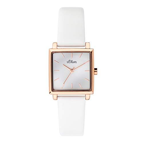 s.Oliver Damen Analog Quarz Uhr mit Leder Armband SO-3709-LQ