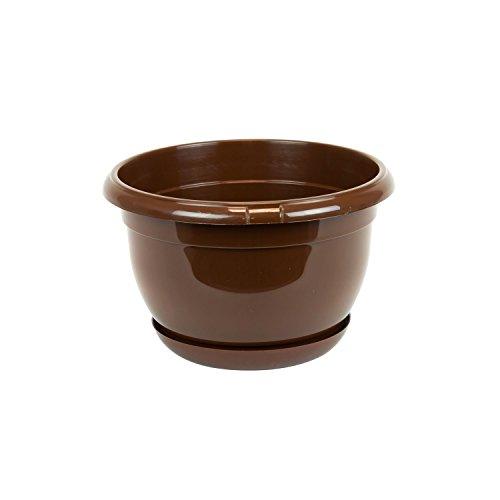 Pot de fleur plastique Malta 19 cm brun avec twist soucoupe