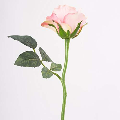 artplants.de Künstliche Mini Rose ELLI mit Blättern, rosa, 30cm, Ø 6cm - Kunstrose - Textilblume