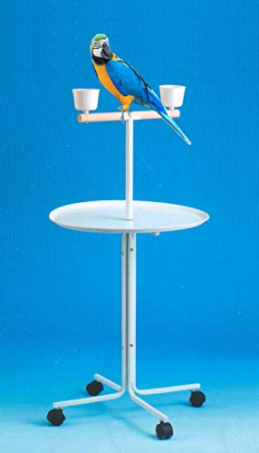 """Large 47"""" Metal Base Parrot Bird Cage Amazon African Grey Macaw Cockatoo Play Metal Stand (White)"""
