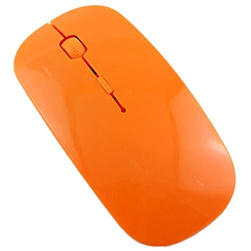 Uniqueheart Ratón de Ordenador de 2,4 GHz Práctico ratón inalámbrico Silent Mute Ratones ópticos USB ultrafinos adecuados para PC portátil - Naranja