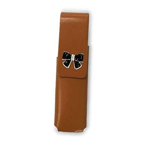 IQOS 3 MULTI 専用 アイコス3 リボン 本革 マルチ ケース (ライトブラウン/エナメルリボン小黒pt24) iQOSケース シンプル 無地 保護 カバー 収納 カバー 全4色 電子たばこ 革