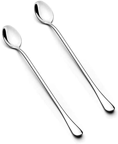 Long Handle Spoon 2Piece 7 6 Inch Long Handle Iced Tea Spoon Coffee Spoon Ice Cream Spoon Stainless product image