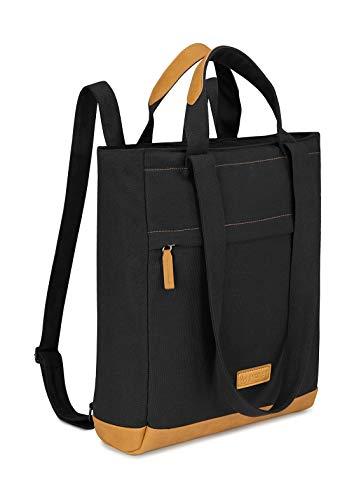 JIVANER Bolso mochila mujer o hombre casual antirrobo para portatil - Bandolera grande viaje, escolar o urbana - Convertible 3 en 1: de mano, hombro o mochila (color negro)