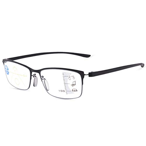 GUAWJRZDP Gafas De Lectura Anti-Azul,Gafas para Juegos De Computadora Integradas Progresivas De Enfoque Múltiple,Zoom Automático,Distancia Y Uso Cercano,Gafas Ópticas para Hombres Y Mujeres