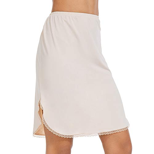 MANCYFIT Half Slips for Women Underskirt Short Mini Skirt with Floral Lace Trim Nude Large