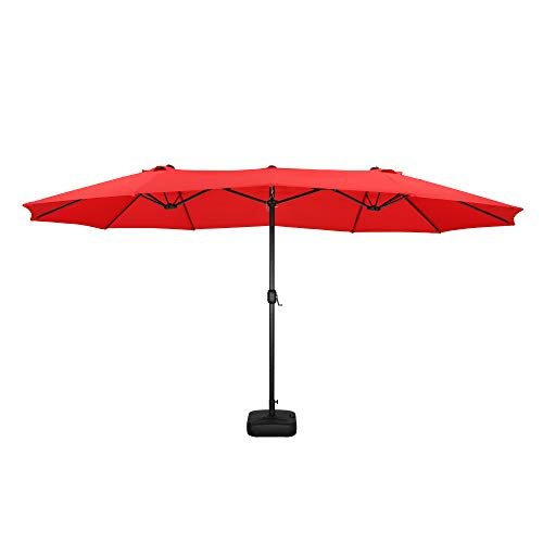LOKATSE HOME 15 Ft Double Sided Patio Umbrella with Crank Handle and...