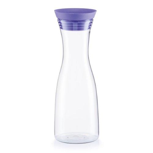 Zeller 19700 Glaskaraffe, 1000 ml, Glas/Silikon/Edelstahl, ø 9.5 x 29 cm, lila