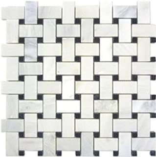 Bianco Carrara White Marble Polished Basketweave Mosaic Tile with Black Dots - Box of 5 sq. ft.