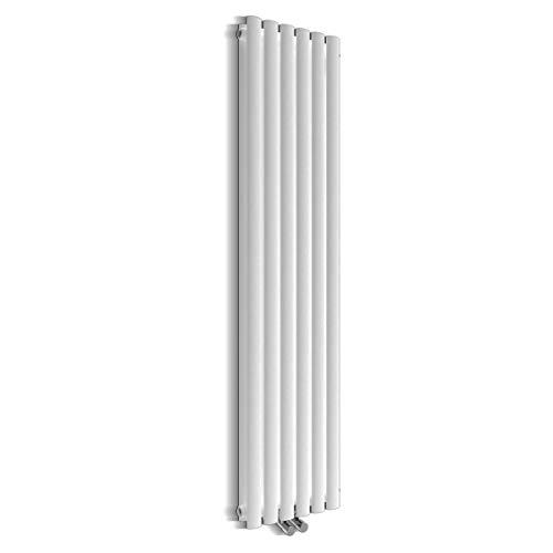 Design Röhren Heizkörper 350x1600mm Weiß Oval Paneelheizkörper Vertikal Mittelanschluss Doppellagig