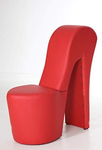 Generisch High Heel Schuhsessel 42x99x79cm Stuhl Designersessel mit Nieten (rot)