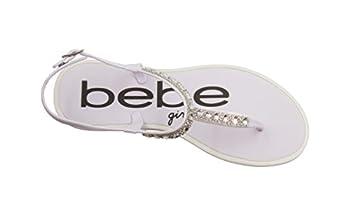 bebe Girls Rhinestone Strap Slingback Thong Flats White Size 2/3