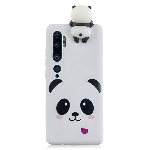 Ostop Compatible avec Coque Xiaomi Mi Note 10/Mi CC9 Pro,Étui Dessin Animé 3D Animal Kawaii Mignon Motif Silicone Caoutchouc Souple Flexible Mat Slim Housse,Ours Blanc
