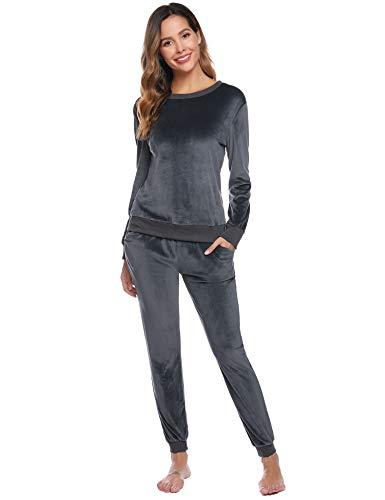 Abollria Damen Velours Hausanzug Weich Warm Samt Pyjamas Zweiteiler Freizeitanzug mit Taschen Nicki Oberteil+Hose für Winter, Grau, XL