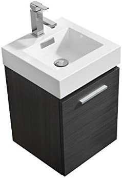 Kubebath Bliss 16 Inch Wall Mount Bathroom Vanity