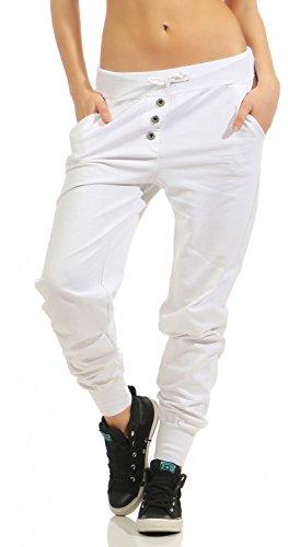Damen Freizeithose Sporthose Sweat Pants lang (623), Grösse:XL / 42, Farbe:Weiß