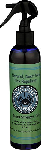 Nantucket Spider Extra Strength Best Natural Tick Repellent Spray Essential Oil (8 Ounce) Tick Repellant for Humans, Adults, Kids, Horses Organic Essential Oil Tick Spray No DEET Not Greasy or Sticky