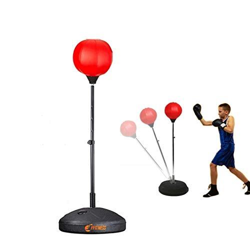 FFitness Bola de Boxeo Infantil con Base rellenable y Barra Ajustable   Saco de Boxeo para Entrenamiento de Boxeo, Rojo