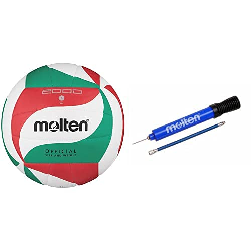 Molten V5M2000 - Pelota De Voleibol Weiß/Grün/Rot Talla:5 + Dhp21-Bl - Inflador De Balones, Color Azul
